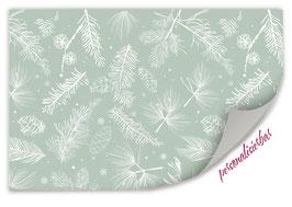 Geschenkpapier | Zapfen und Nadeln - grün