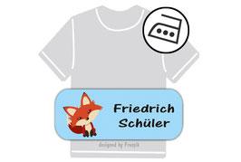Bügeletiketten 2 x 5 cm | Fuchs - blau
