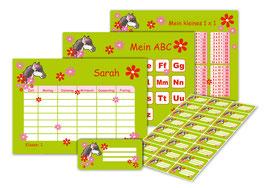 4 er Schulset:  Stundenplan + Lernposter + Heftaufkleber | Pony Blumen - grün