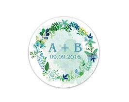 Hochzeitsaufkleber | Herbstlicher Blätterkranz & Schmetterlinge - petrol