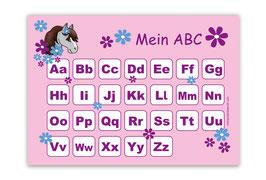 ABC Lernposter | Pony Blumen - rosa