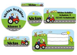 Schulaufkleber - Set | Traktor