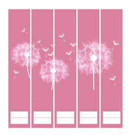 5er Set Ordnerrückenaufkleber | Pusteblume rosa