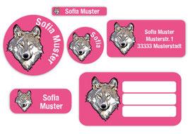 Schulaufkleber - Set | Wolf pink