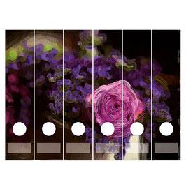 6er Set Ordnerrückenaufkleber | Romantik Blumen