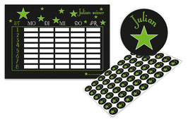 2 er Schulset:  Stundenplan + Namensaufkleber | Sterne - grün