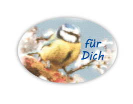 Geschenkaufkleber - oval | Blaumeise - Für Dich