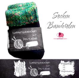 6 Sockenbanderolen   Lieblingssocken Tafeloptik - personalisierbar & transparente Klebepunkte