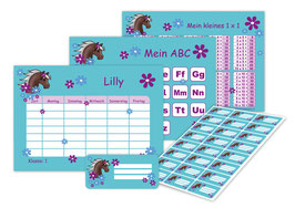 4 er Schulset:  Stundenplan + Lernposter + Heftaufkleber | Pony Blumen - türkis lila