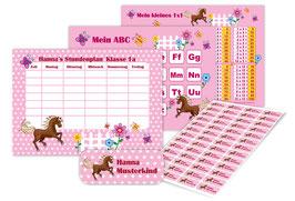 4 er Schulset:  Stundenplan + Lernposter + Aufkleber | Pferd Sternchen - rosa
