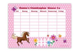 A4 Stundenplan | Pferde Sternchen - rosa