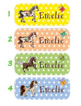 Namensaufkleber 2 x 5 cm | Pferde - Sterne - Schmetterling