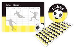 2 er Schulset:  Stundenplan + Aufkleber | Fußball schwarz-gelb