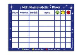 A4 Klassenarbeitsplaner - abwaschbar | Sterne - blau