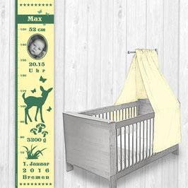 Kindermesslatte mit Foto  | Reh - grün beige