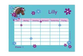 A4 Stundenplan | Pony Blumen - türkis lila