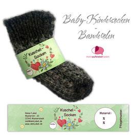 6 Sockenbanderolen   Kuschelsocken -Herz grün - personalisierbar & transparente Klebepunkte
