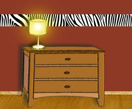 Vliesbordüre | Zebra Streifen - weiß / farbig