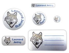 Schulaufkleber-Set Silberfolie | Wolf