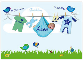 Geburtsposter - Wäscheleine blau - personalisierbar mit Foto