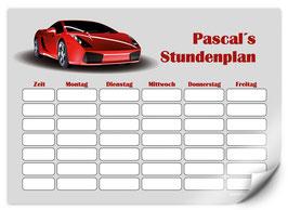 Stundenplan - selbstklebend | Sportwagen - rot