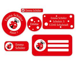 Schulaufkleber - Set | Marienkäfer