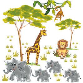 Wandaufkleber-Set   Tiere der Savanne Afrikas