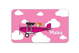 Brotdosenaufkleber | Flugzeug Mädchen 3
