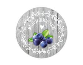 Marmeladenaufleber rund | Holzoptik mit Blumenornament - Heidelbeere