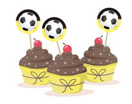 Kuchendeko  - selbstklebend  | Fußball schwarz-gelb