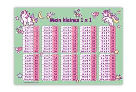 1x1 Lernposter | Einhorn - mint