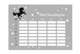 A4 Stundenplan | Wildpferd grau