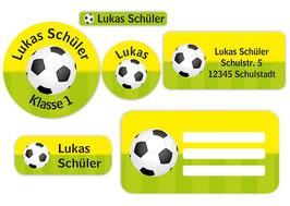 Schulaufkleber - Set | Fußball gelb-grün