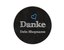 Handmade Aufkleber - rund    Chalkboard - Danke - Herz blau- personalisierbar mit deinem Shopnamen