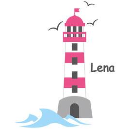 Wandaufkleber | Leuchtturm pink - Möwen & Wunschname
