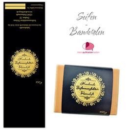 8 Seifenbanderolen | Blumenkranz Ornament schwarz gold - personalisierbar & transparente Klebepunkte