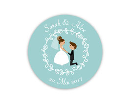 Hochzeitsaufkleber   Brautpaar Antrag - aqua