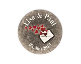 Hochzeitsaufkleber | Liebesbrief mit Herzchen - grau / braun