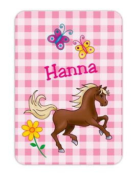 Trinkflaschenaufkleber | Pony Karo rosa