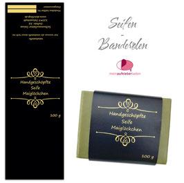 8 Seifenbanderolen   Ornament 1 schwarz gold - personalisierbar & transparente Klebepunkte