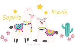 Geschwister - Wandaufkleber | Alpakas rosa mit Kaktus, Blüten & Sterne - personalisierbar