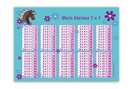 1x1 Lernposter | Pony Blumen - türkis lila