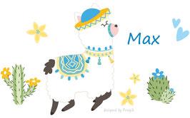 Wandaufkleber | Alpaka blau mit Kakteen, Blüten & Herzen - personalisierbar