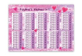 1x1 Lernposter | Pastell Herzchen pink-rosa