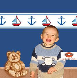 selbstklebende Kinderbordüre | Anker & Segelschiff