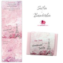 8 Seifenbanderolen | Paris rosa - personalisierbar & transparente Klebepunkte