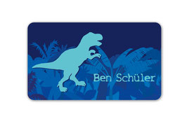 Brotdosenaufkleber | T-Rex blau