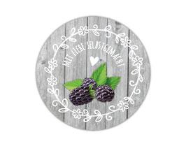 Marmeladenaufleber rund | Holzoptik mit Blumenornament - Brombeere