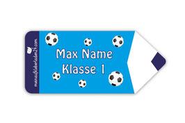 Form - Namensaufkleber | Stift - Fußball blau