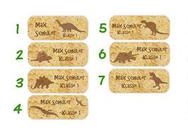 Namensaufkleber 2 x 5 cm | Dino Versteinerung - braun